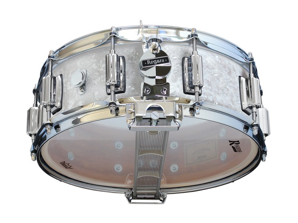 rogers dyna sonic 14x5 wood shell snare drum white marine pearl w beavertail lug 4718981035534. Black Bedroom Furniture Sets. Home Design Ideas